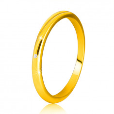 Inel din aur galben 14K - brațe subțiri netede, diamante strălucitoare