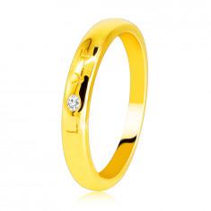 """Inel din aur galben 585 - scris """"LOVE"""" cu o suprafață strălucitoare netedă, 1,6 mm"""