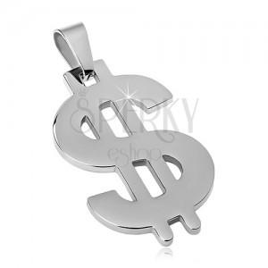 Pandantiv argintiu din oțel, simbolul dolarului