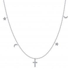 Colier din argint 925 - cruce, stele și luna, zirconii limpezi
