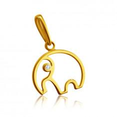 Pandantiv din aur galben de 14K - conturul unui elefant cu trunchi, diamant clar strălucitor