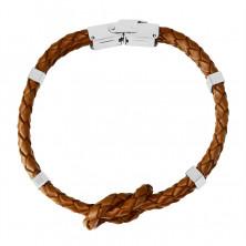 Brățară din piele roșie - nod de două împletituri, cleme metalice, clemă de ceas