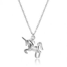 Colier din argint 925 - unicorn galopant, lanț realizat din verigi ovale