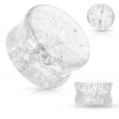 Dop de sticlă pentru urechi, cu margini rotunjite, efect transparent, rupt
