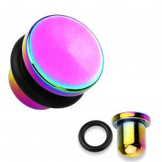 Dop pentru urechi din oțel 316L și titan în culoarea curcubeu, bandă de cauciuc negru, diferite grosimi