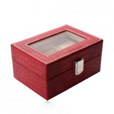 Cutie de bijuterii dreptunghiulară de culoare roșie - imitație de piele de crocodil, cataramă