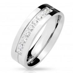 Inel din oțel de culoare argintie, nouă zirconii limpezi în crestătură, suprafață strălucitoare, 6 mm