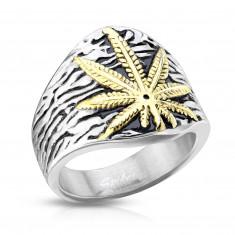 Inel din oțel inoxidabil, frunză de marijuana, culoare argintie