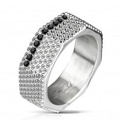 Inel din oțel - stil industrial, șurub masiv cu elemente saliente și zirconi negri