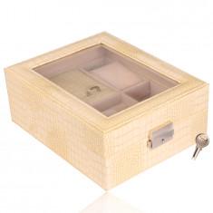 Cutie de bijuterii dreptunghiulară în culoare cremoasă - imitație de piele de crocodil, cataramă, cheie