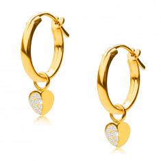 Cercei din aur 14K, cercuri cu pandantiv inimă, încuietoare franceză, 12 mm