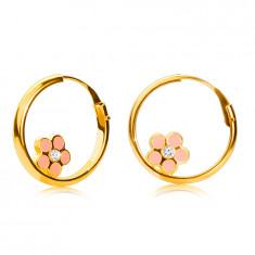 Cercei rotunzi din aur 14K, floare roz, suprafață strălucitoare, 12 mm