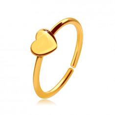 14K aur piercing nas, inel strălucitor cu o inimă mică, 8 mm