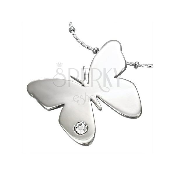 Pandantiv din oțel chirurgical, fluture lucios cu zirconiu transparent