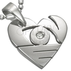 Pandantiv argintiu din oțel chirurgical, inimă cu decupaje și zirconiu