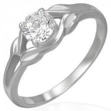 Inel de logodnă din oțel - zirconiu transparent într-o buclă