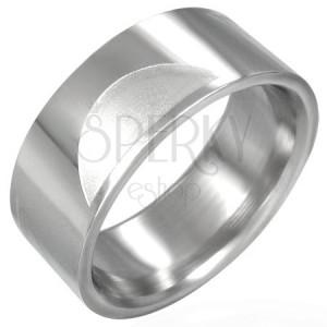 Inel lustruit din oțel inoxidabil cu semicercuri mate