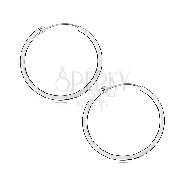 Cercei argint - inele cu margini ascuțite, 40 mm