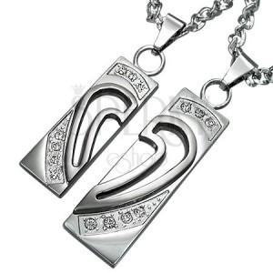 Set de pandantive, din oțel chirurgical, inimă despicată în două jumătăți cu zirconii