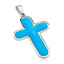 Pandantiv din oțel chirurgical, cruce mare cu interior albastru, smălțuit