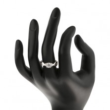 Inel nuntă argint - zircon rotund în împletitură
