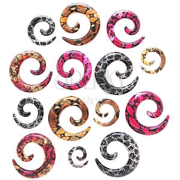 Expander pentru ureche – spirală, model piele de şarpe