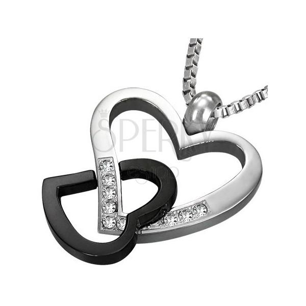 Pandantiv bicolor din oțel 316L - două contururi de inimi interconectate, zirconii transparente
