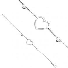 Brățară argint 925 - inimă pe lănțișor tip șarpe