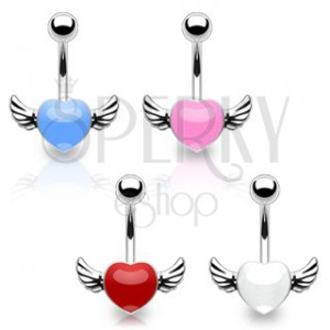 Piercing pentru buric, din oţel chirurgical - inimă colorată cu aripi